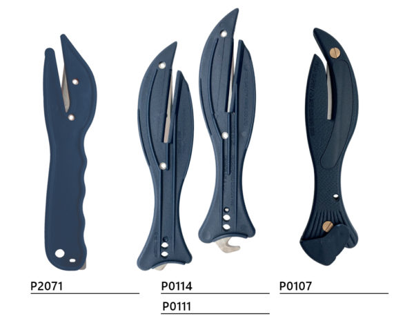 Detectable safety knife with hidden blade